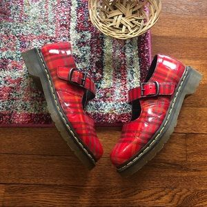 Dr martens Red plaid Mary Jane shoes